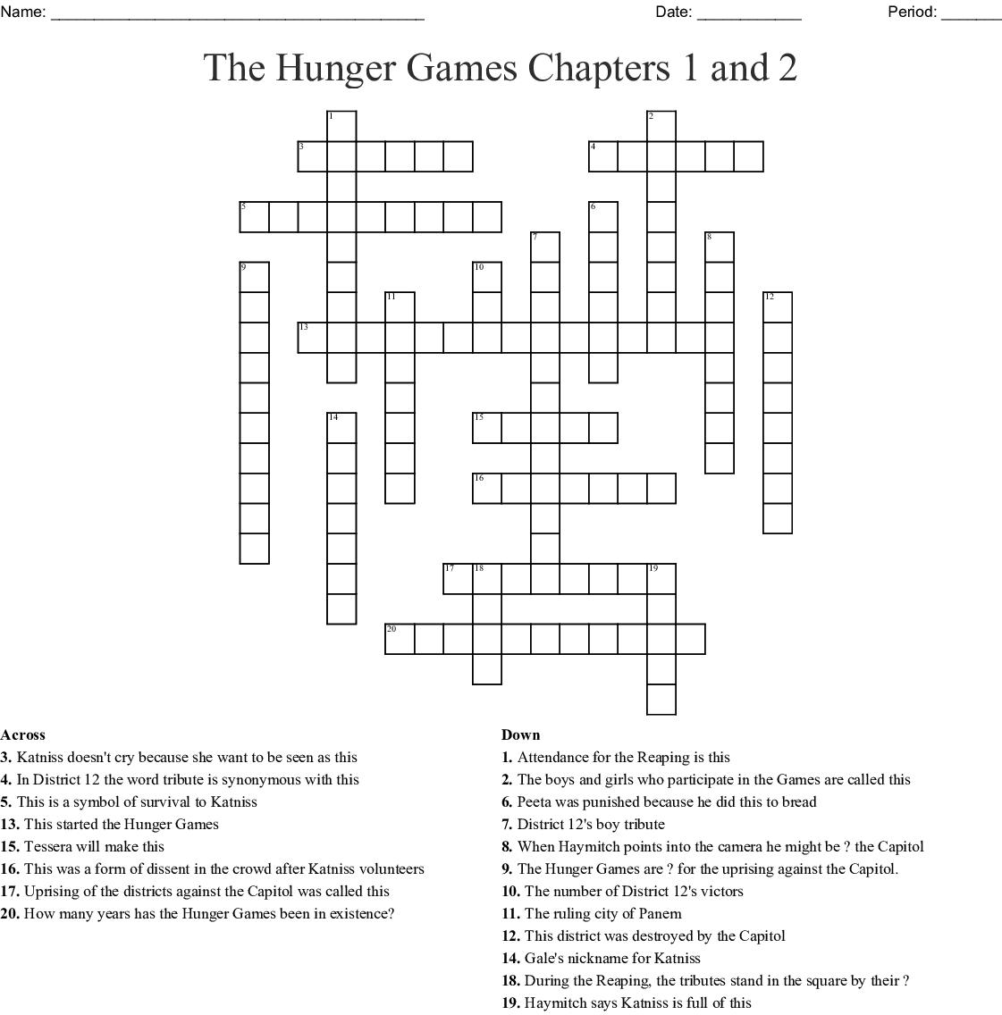 Hunger Games Crossword