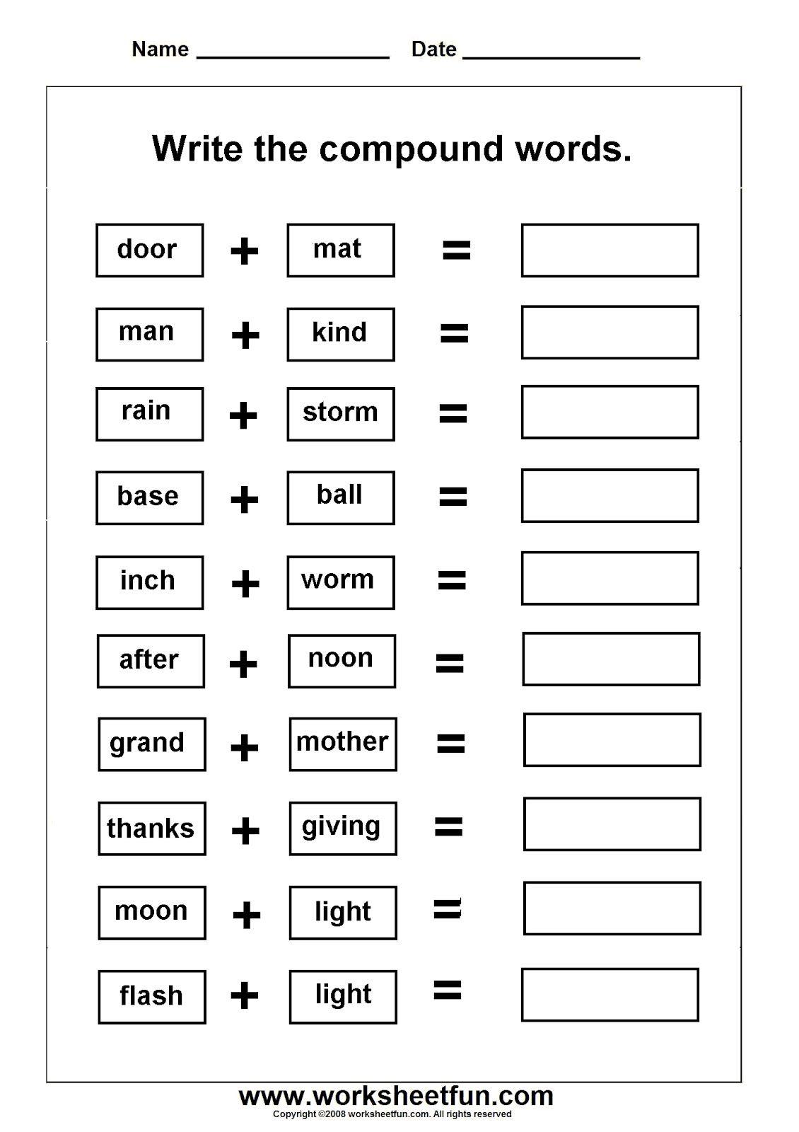 Printable Compound Word Crossword Puzzle