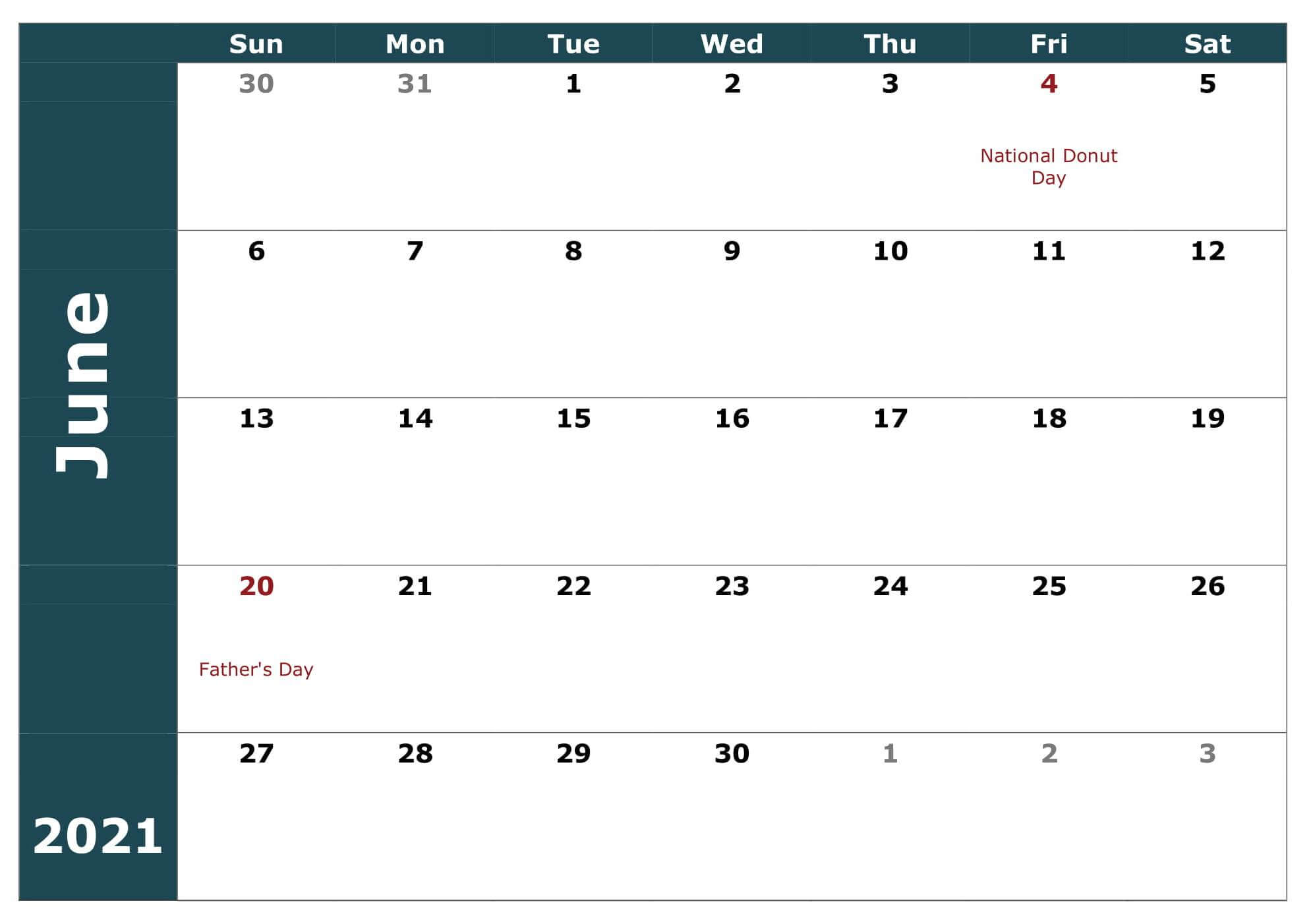 Free Fillable June 2021 Calendar Template Printable