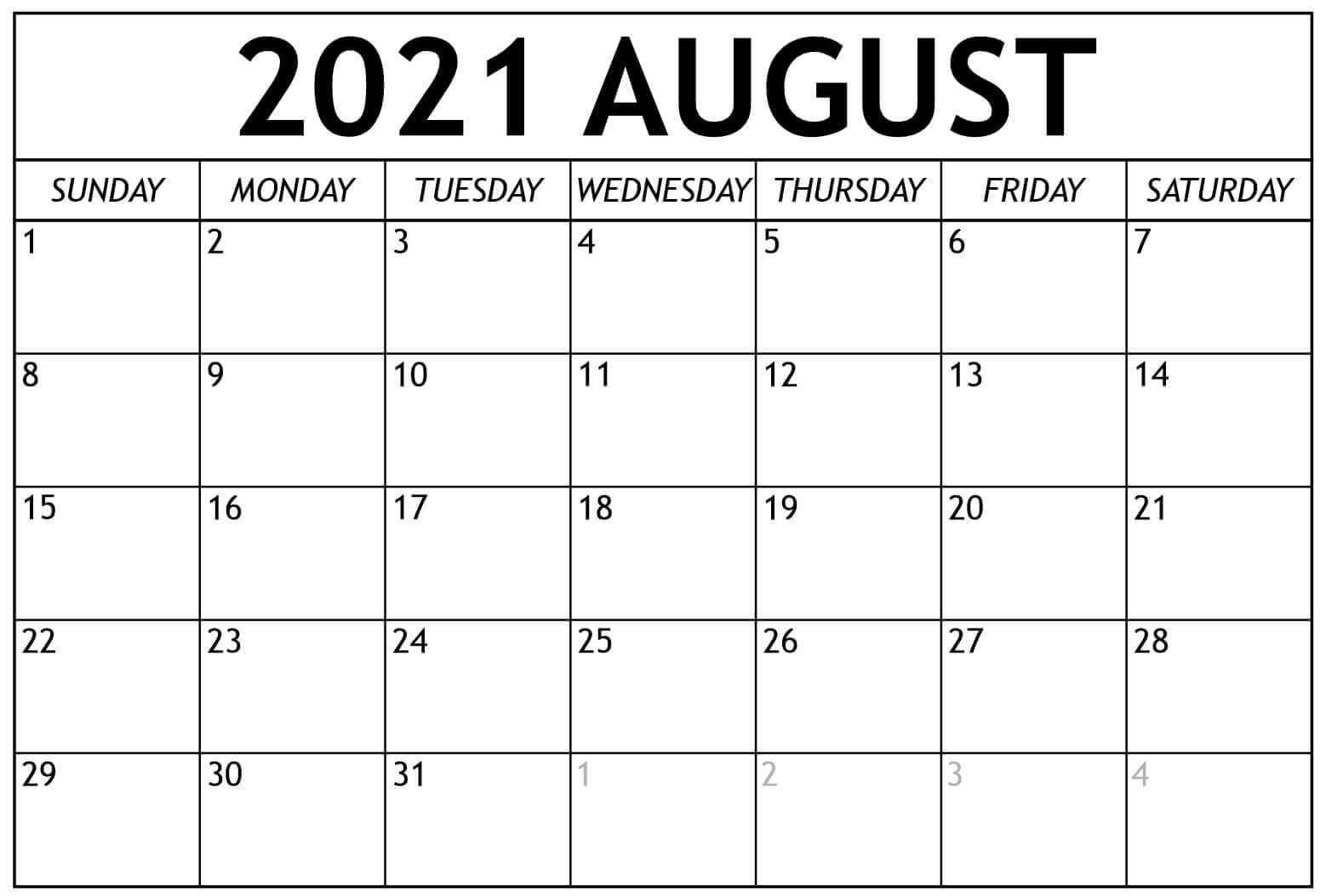 Fillable August 2021 Calendar Template Printable PDF Word