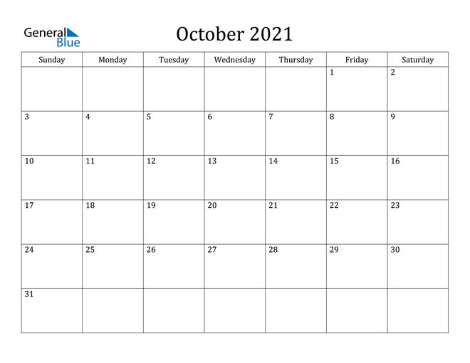 Fillable October 2021 Calendar Template Printable PDF Word