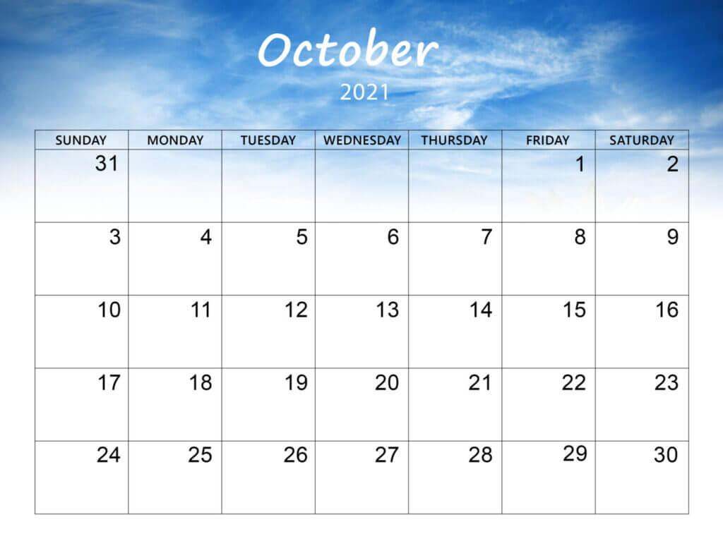 October 2021 Calendar PDF, Word, Excel Template