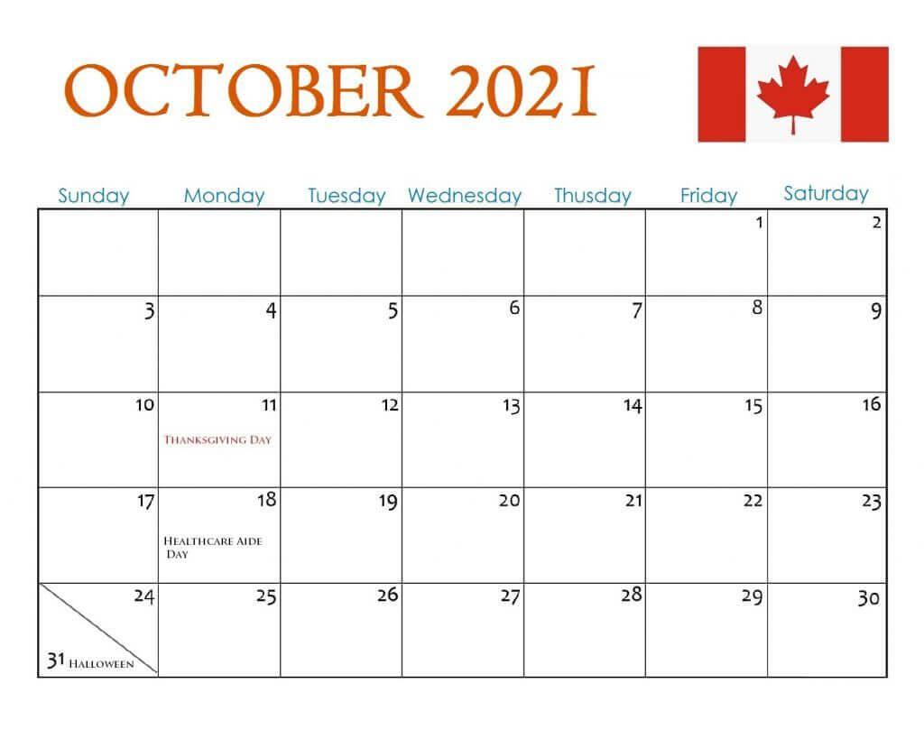 October 2021 Calendar With Holidays USA, UK, Canada, India, Australia