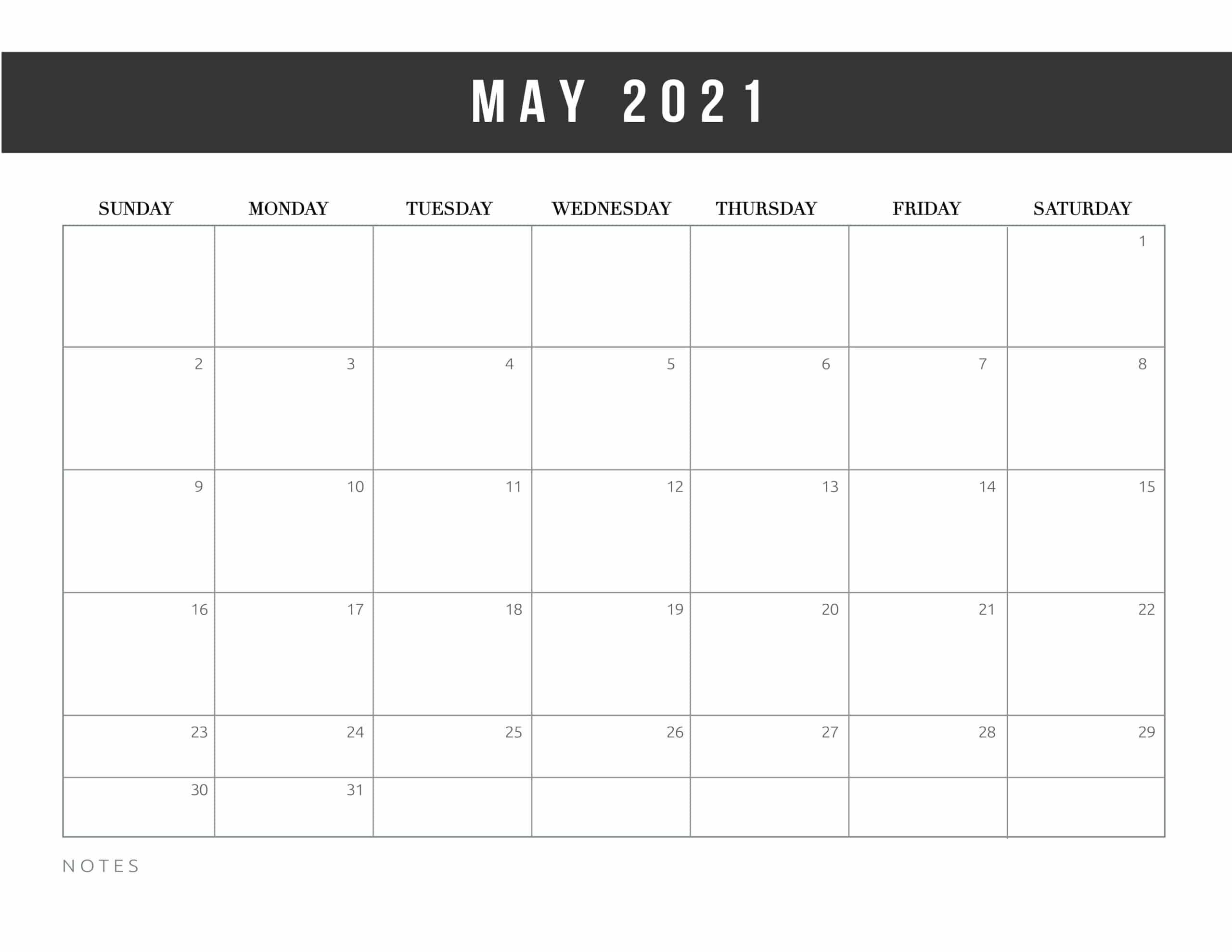 Free Editable Template For May 2021 Month