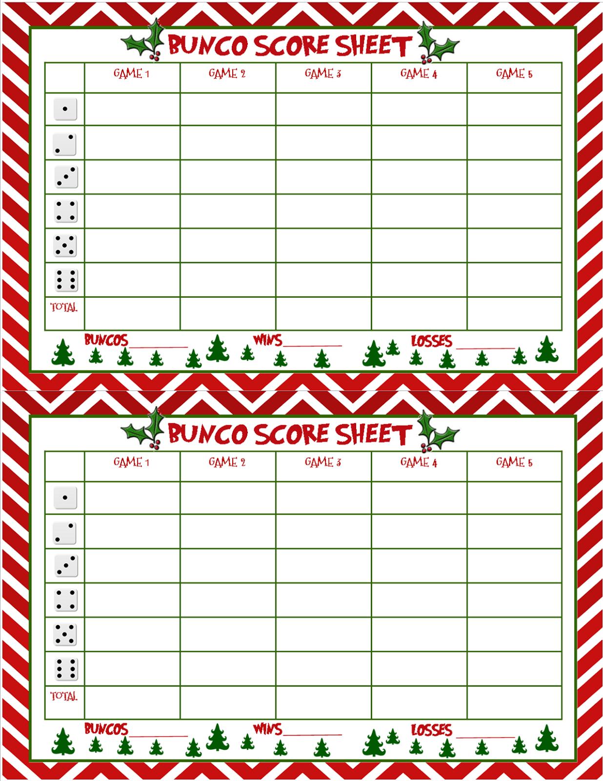 Printable Bunco Score Cards Free