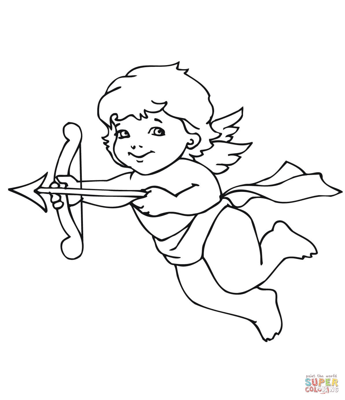 Valentine Sweet Cupid Coloring Pages Printable