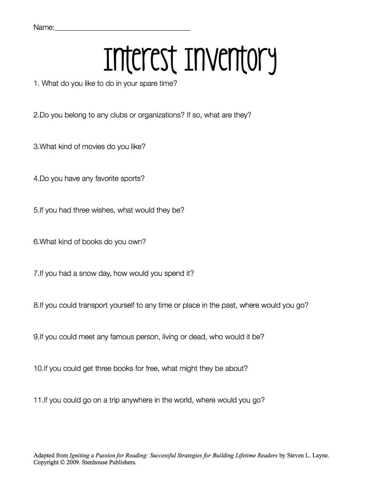 Printable Career Interest Survey For High School Students