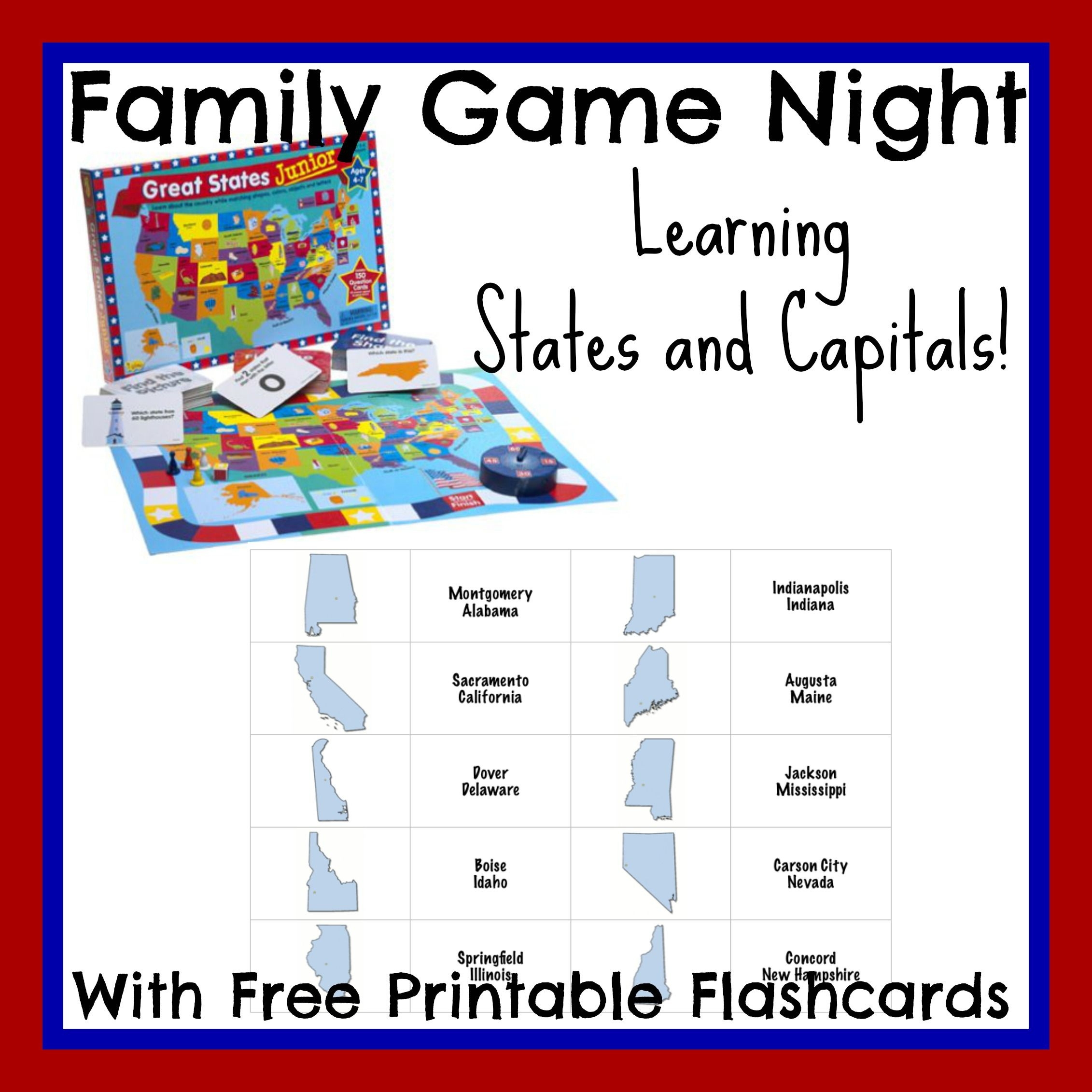 Free States And Capitals Printable