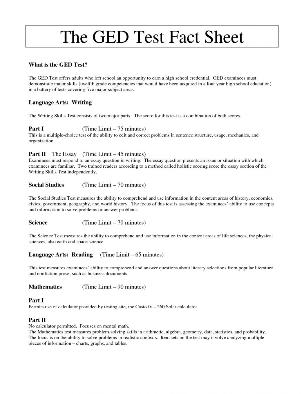 Free Ged Practice Test Printable
