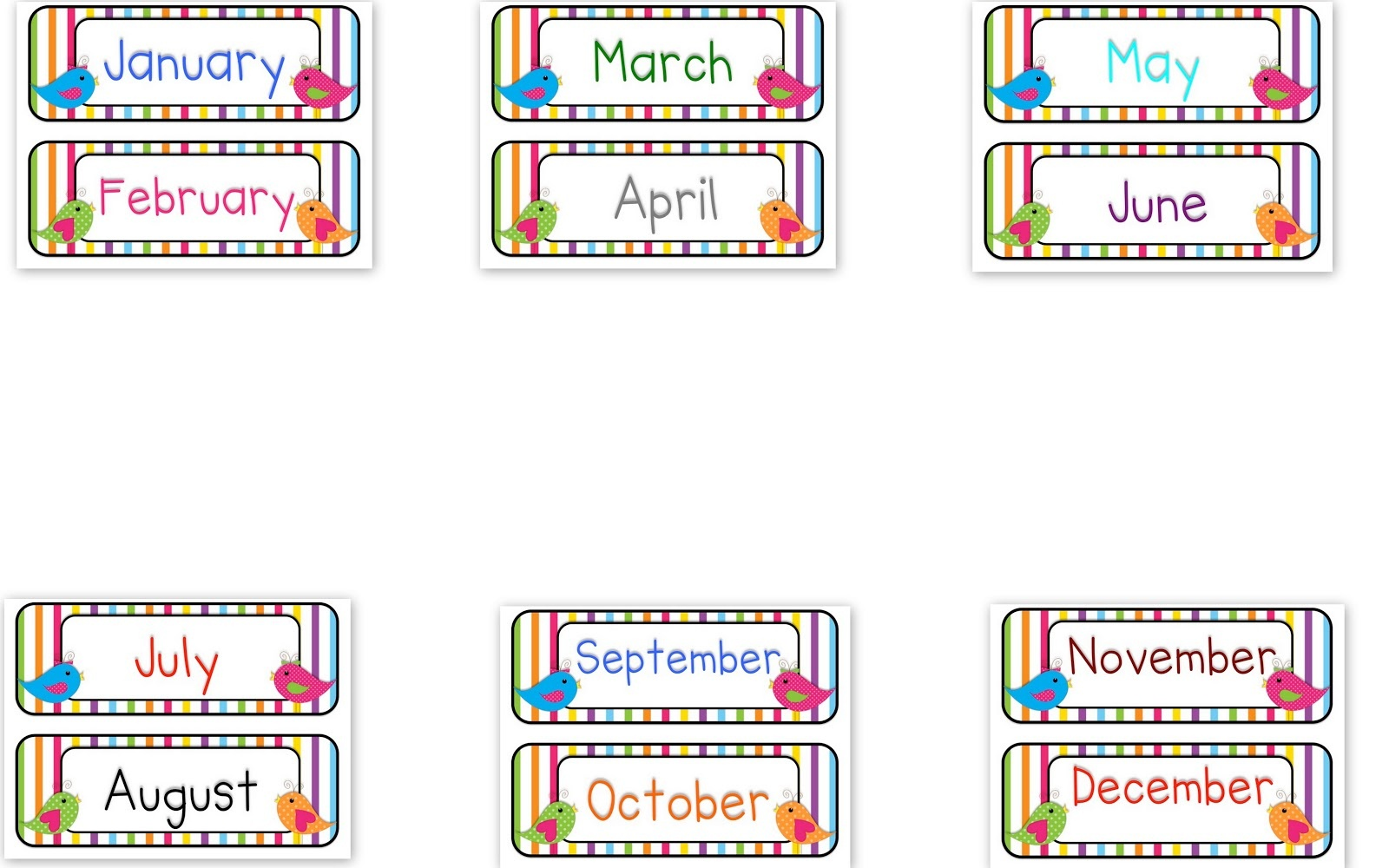 Months Of The Year Printables Free