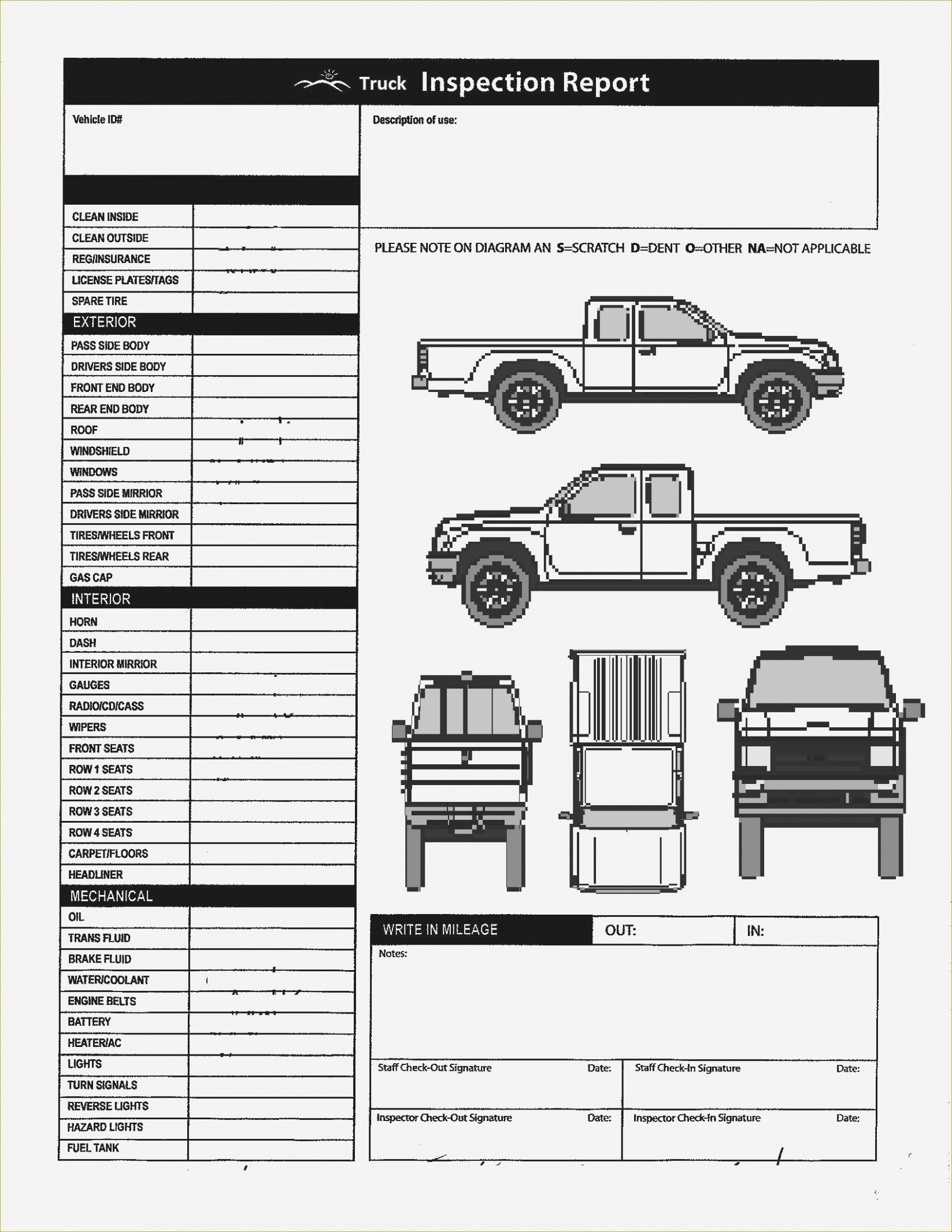Download Vehicle Inspection Checklist Template
