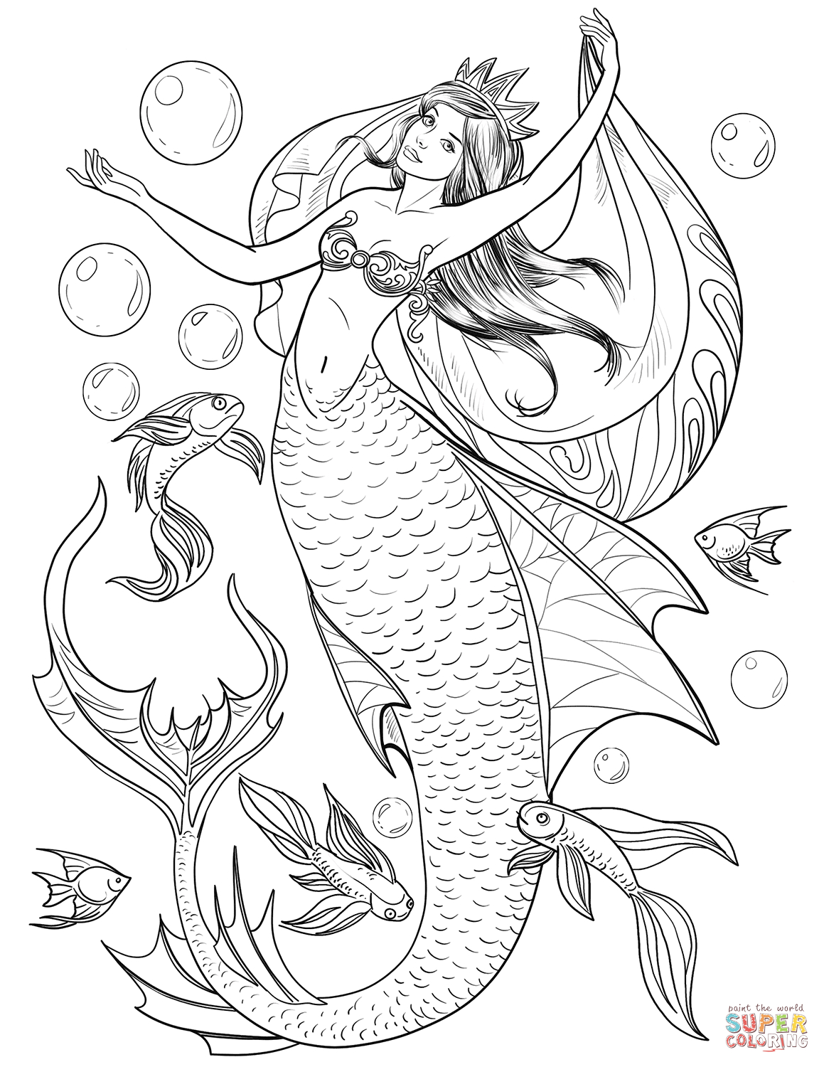 Free Printable Mermaid Coloring Pages For Adults