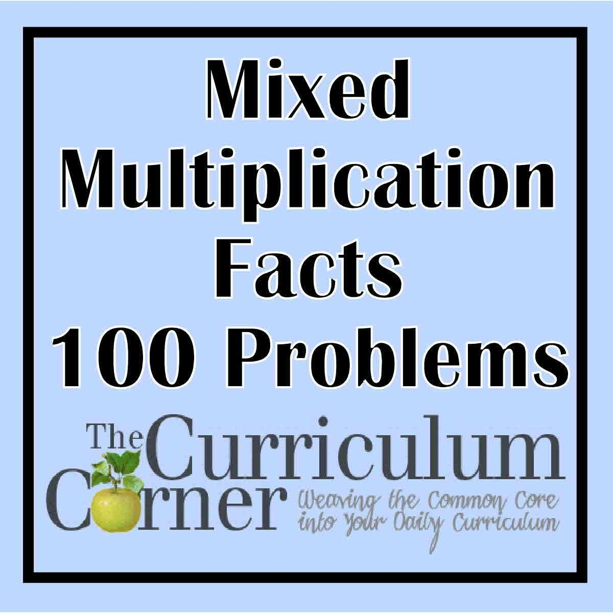 Free Printable Multiplication Worksheets 100 Problems