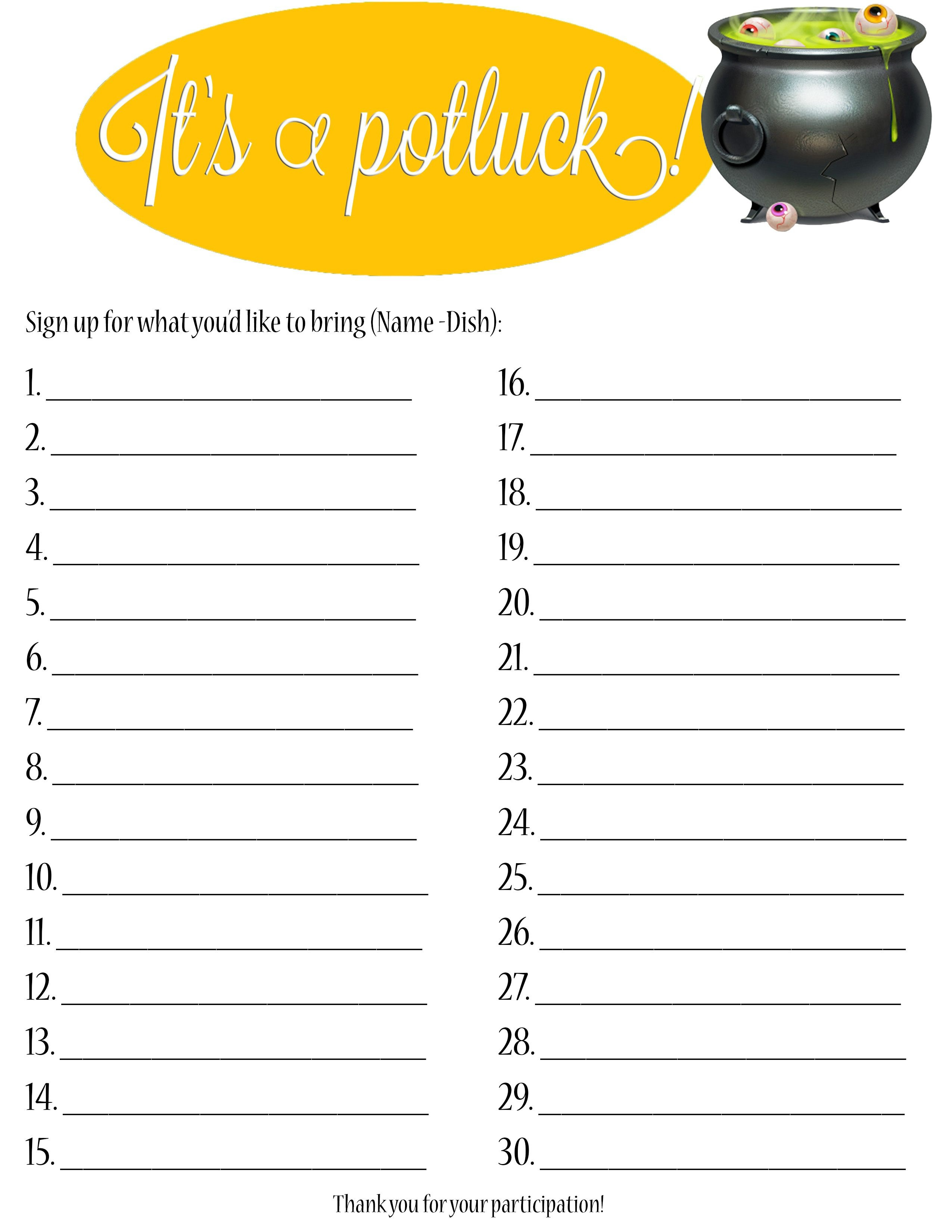 Free Printable Sign Up Sheets For Potlucks