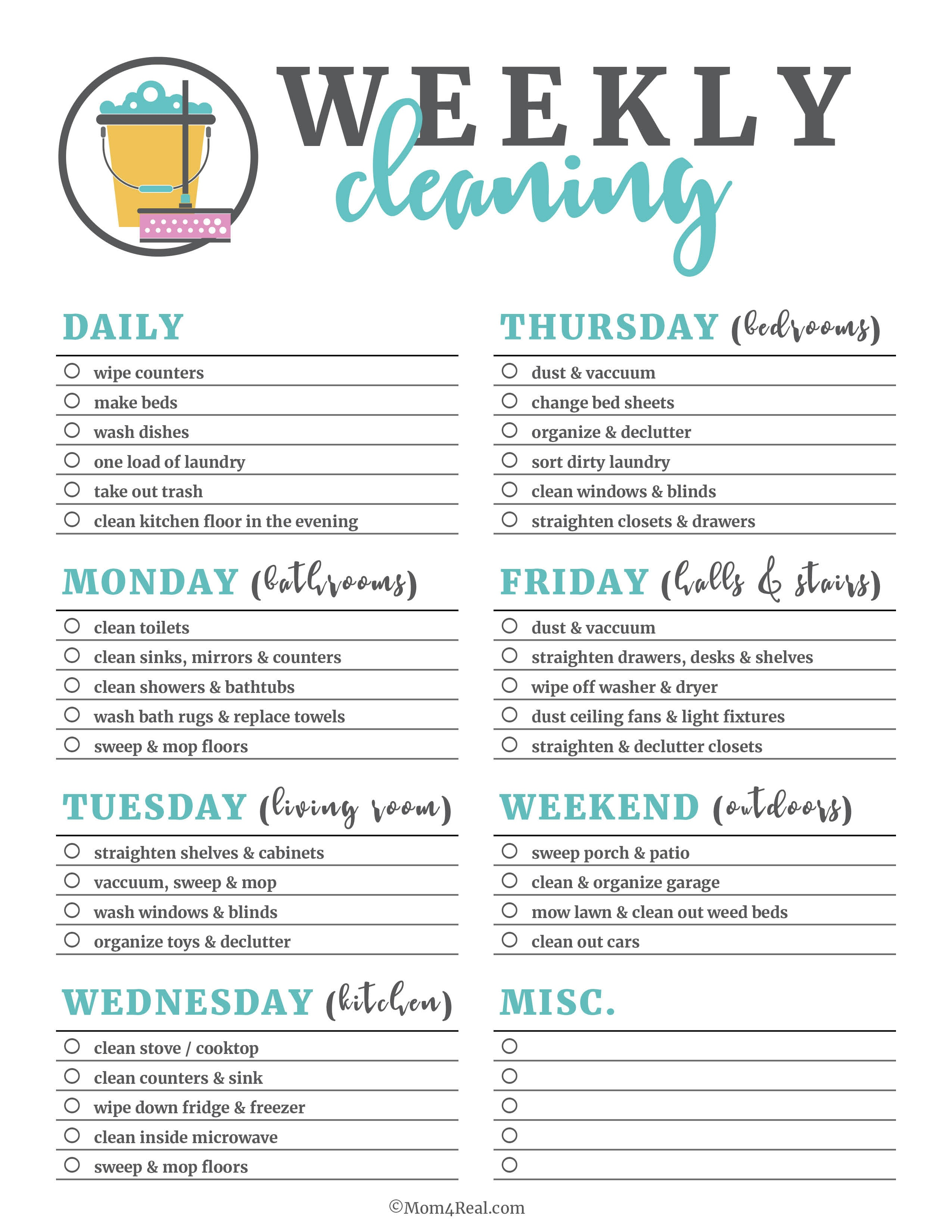 Free Printable Housework Checklist