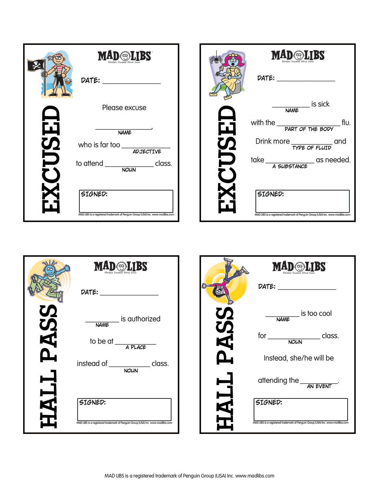 Free Printable Mad Libs For Tweens
