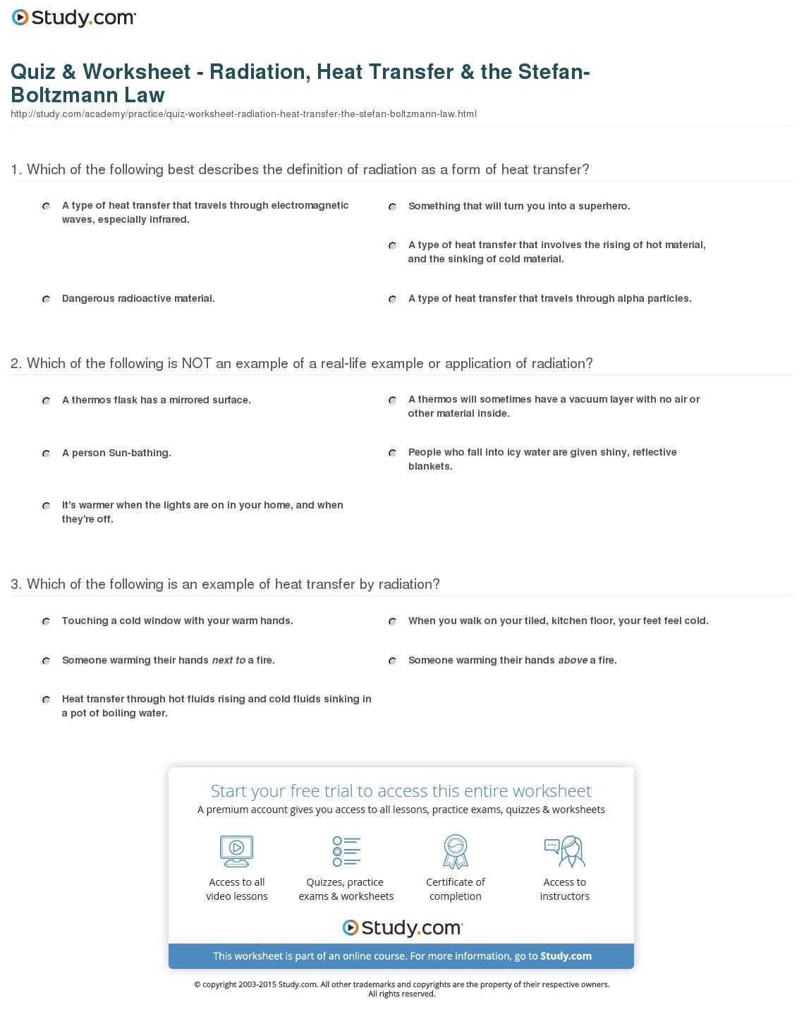 Oil Or Gas Heating Science Worksheet 2 10a Heat Transfer