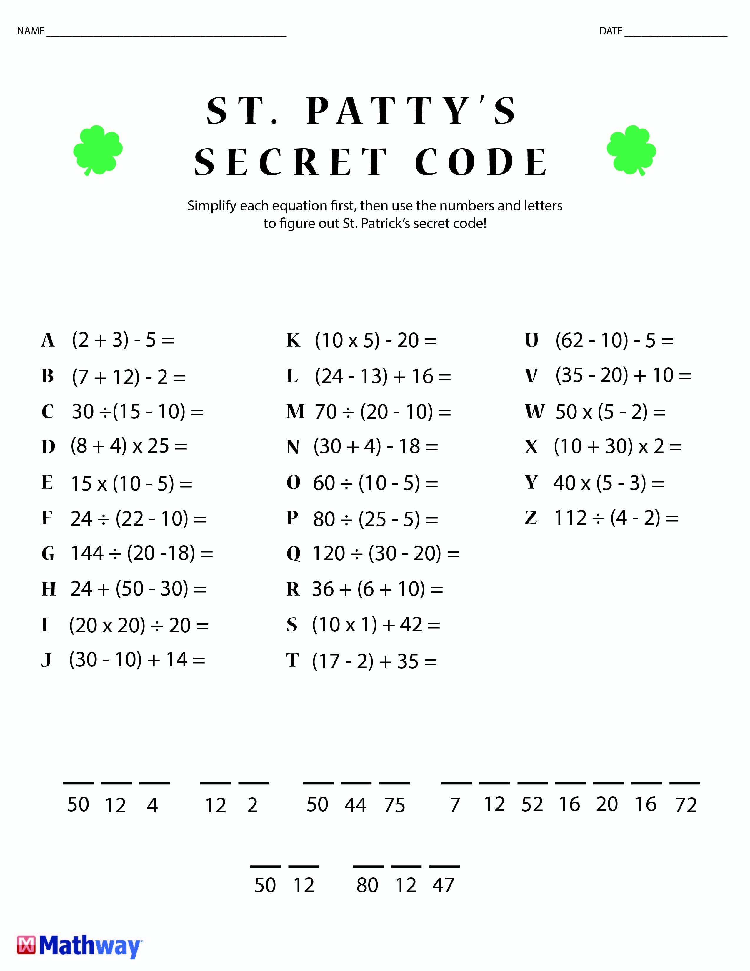 Crack The Code Worksheets Printable Free