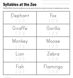Free Syllable Worksheets   Printable Worksheets and Activities for  Teachers [ 3300 x 2550 Pixel ]