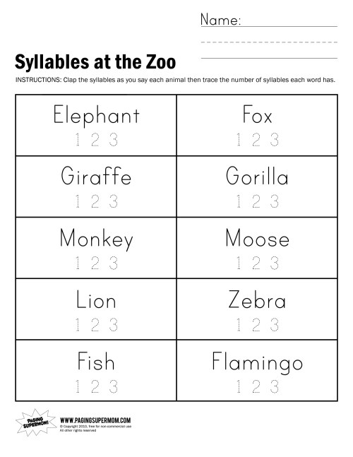 small resolution of Free Syllable Worksheets   Printable Worksheets and Activities for  Teachers
