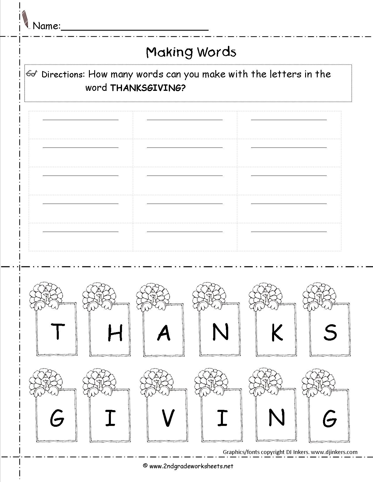 Thanksgiving Cut And Paste Activities