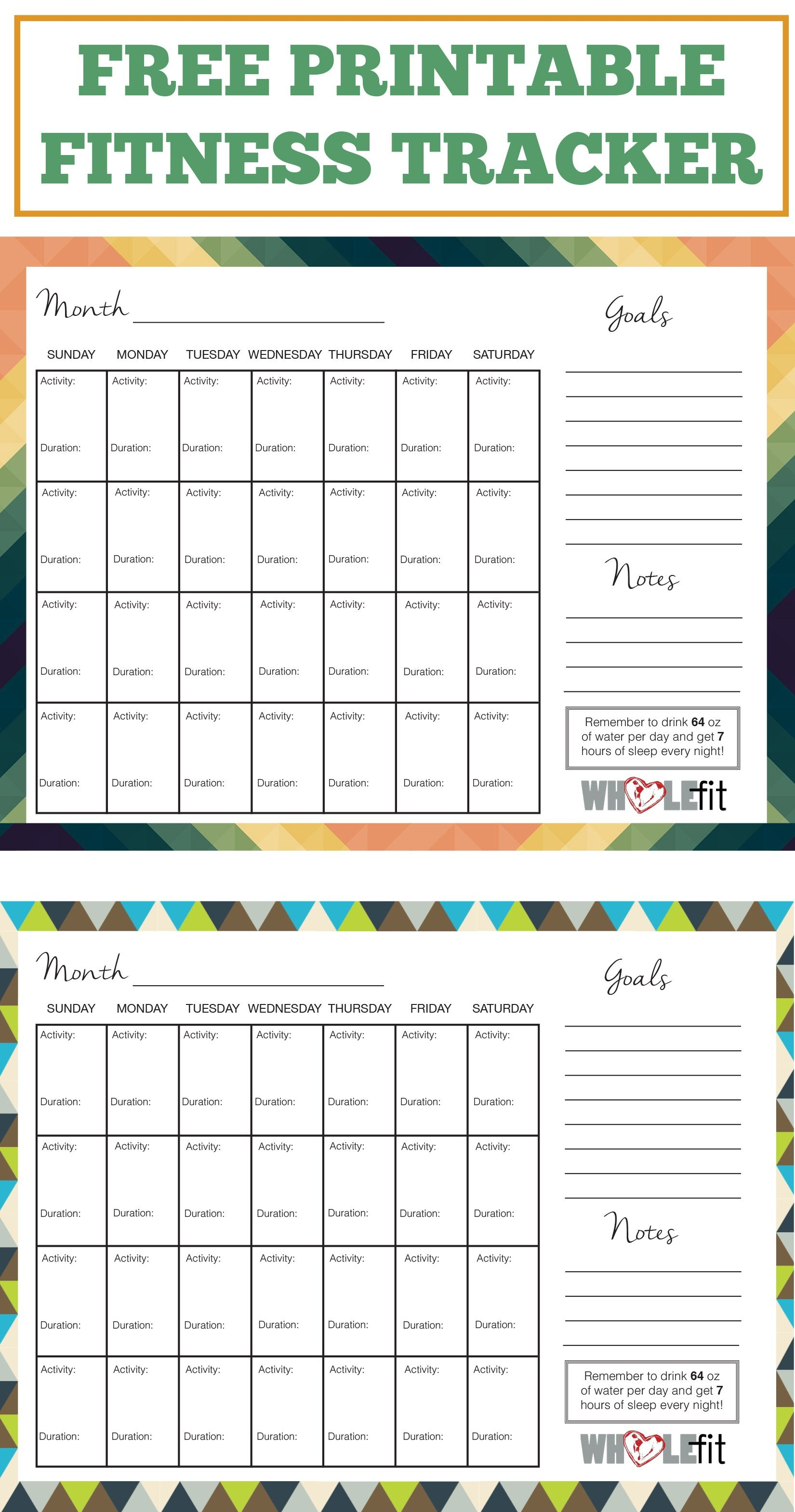 Free Printable Fitness Worksheets