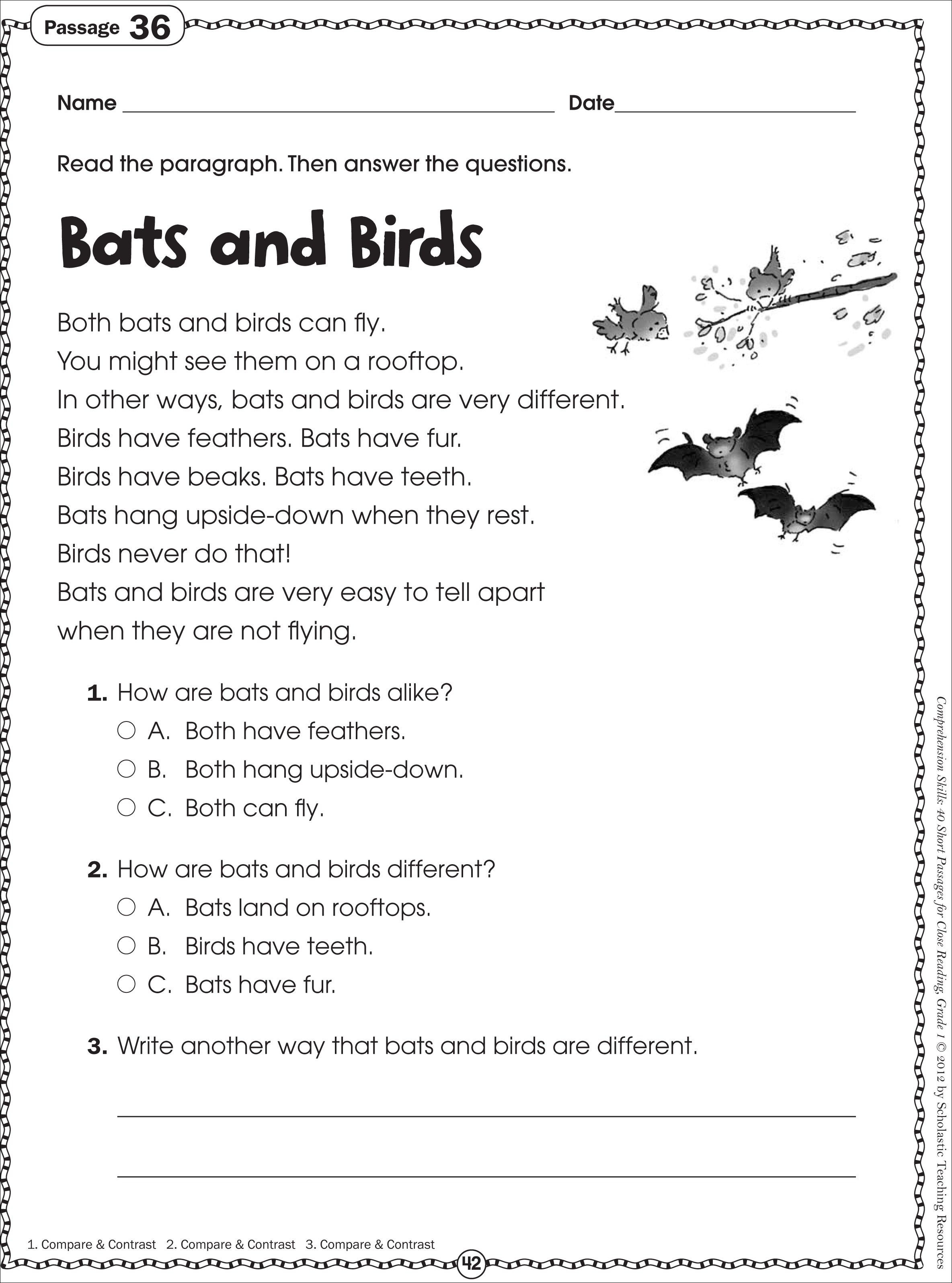 Free Printable Halloween Reading Comprehension Worksheet