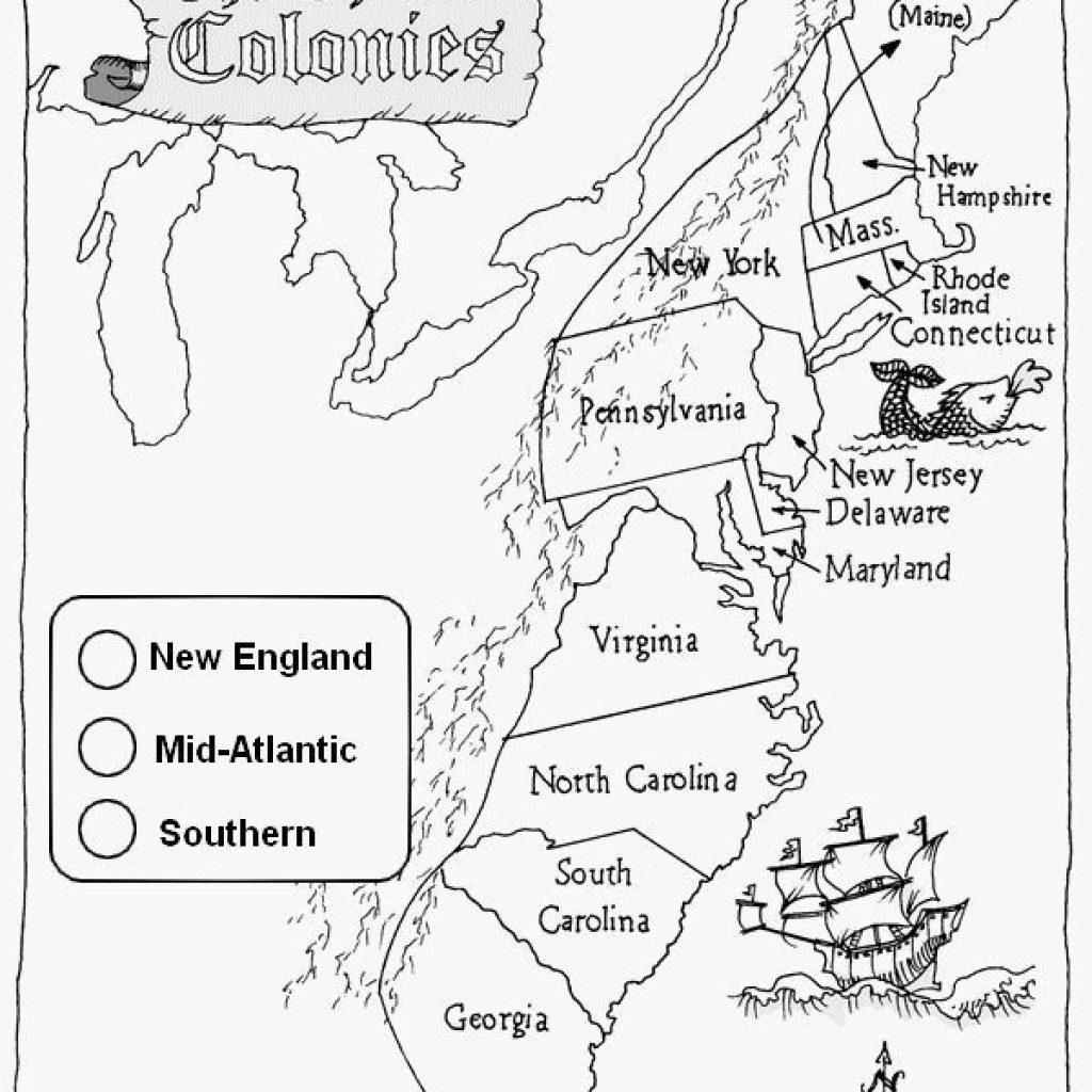 13 Colonies Map Printable
