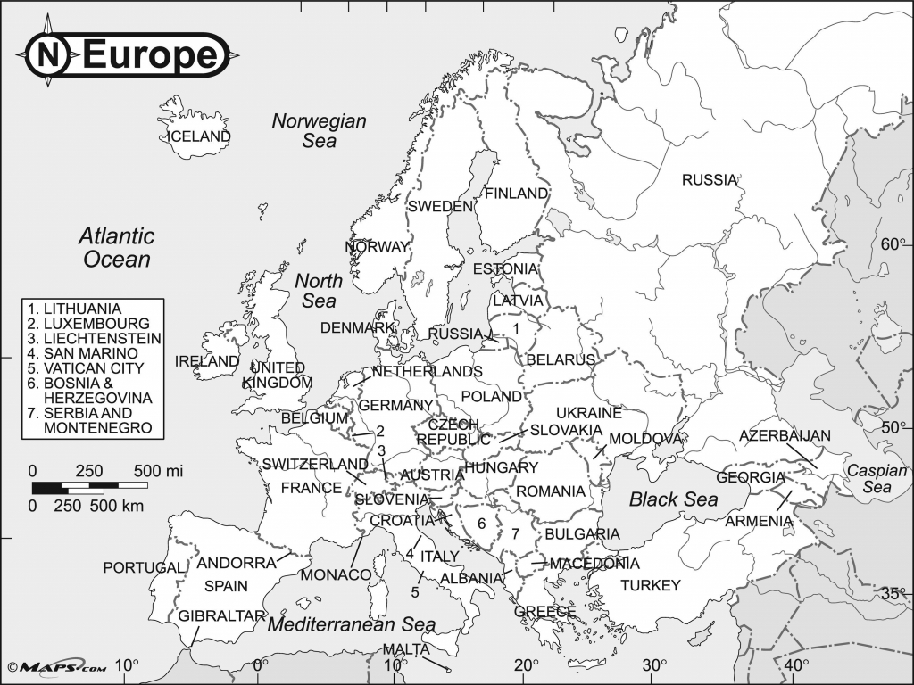 Free Printable Maps Of Europe Intended For Europe Map