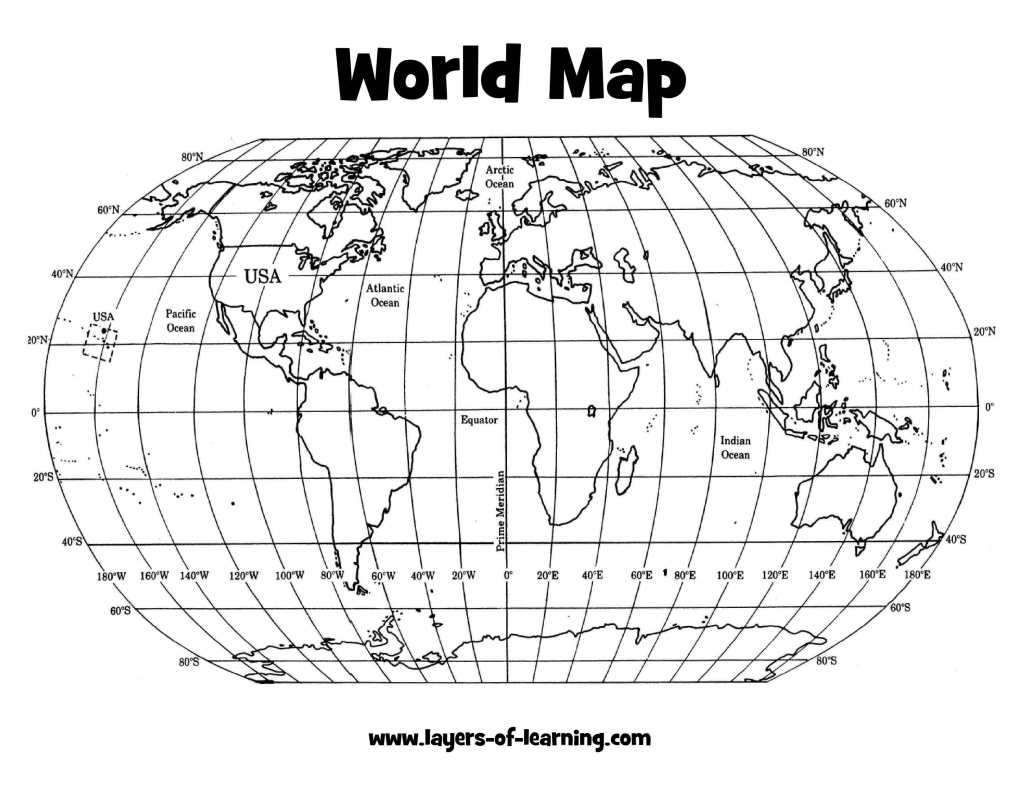 World Map Latitude Longitude Printable