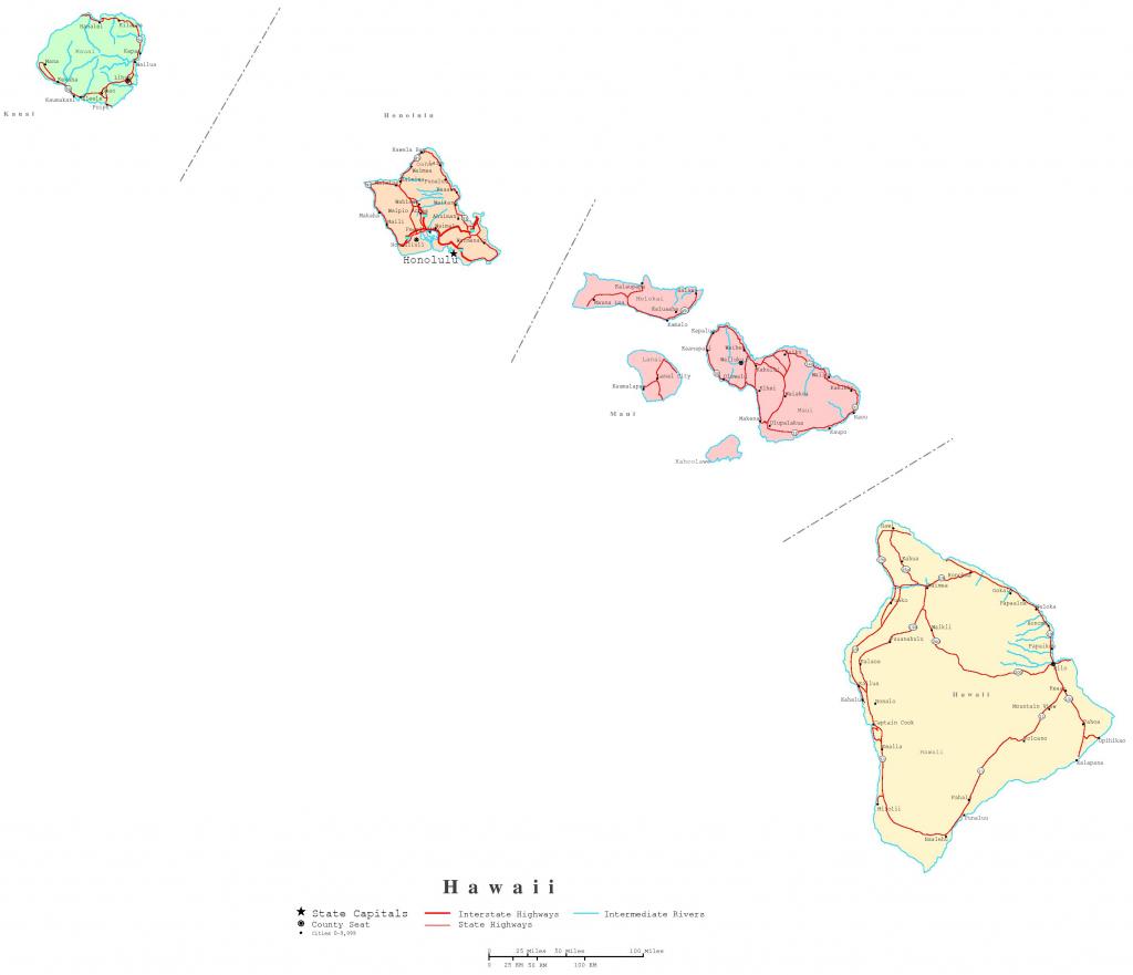 Hawaii Printable Map Throughout Printable Map Of Kauai Hawaii