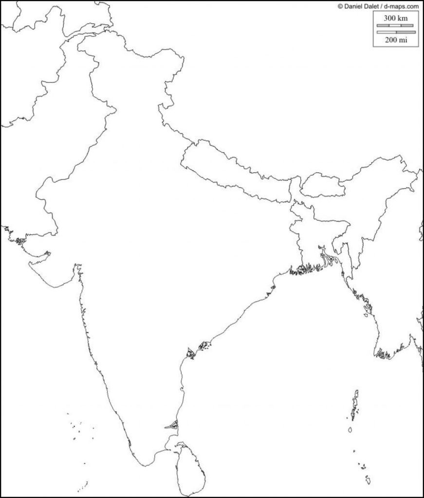 Royalty Free, Printable, Blank, India Map With