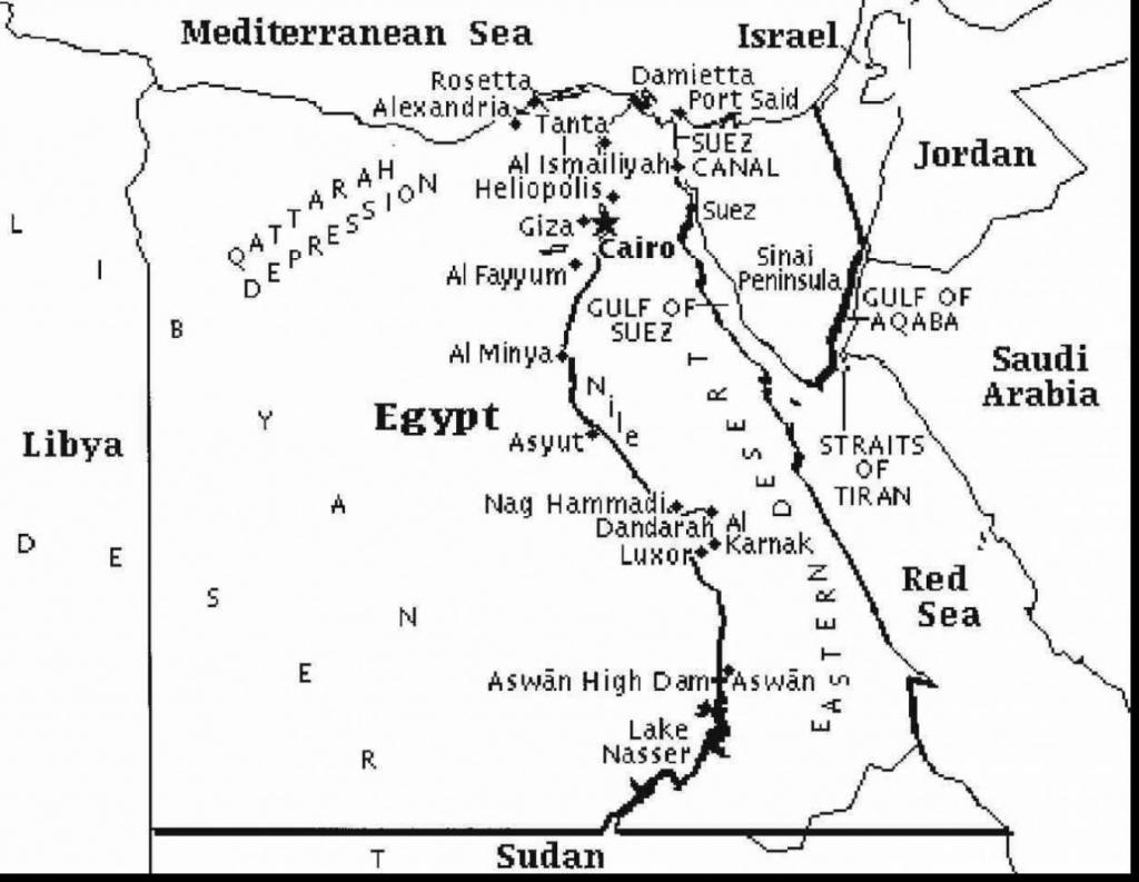 Printable Map Of Egypt