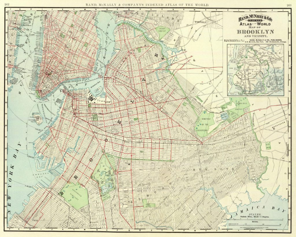 Vintage Brooklyn Street Map Rand Mcnally Wall Art