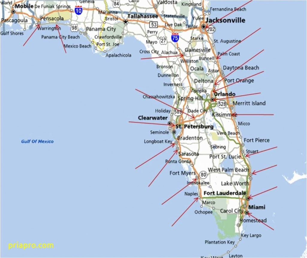 Florida East Coast Beaches Map