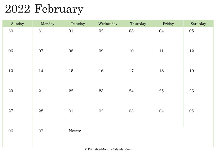 February 2022 Calendar Printable with Holidays