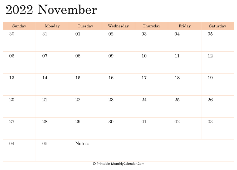 November 2022 Calendar Printable with Holidays