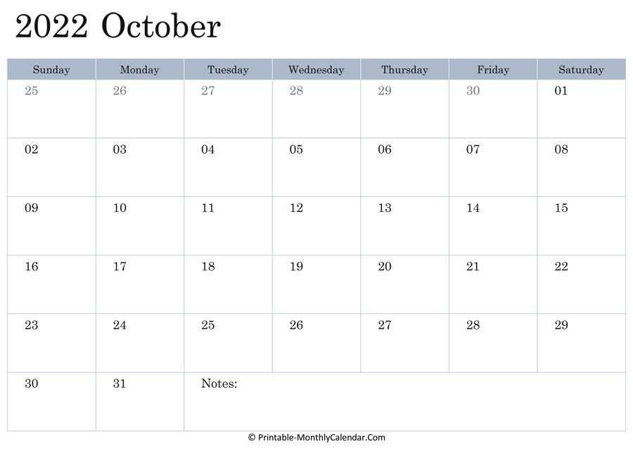 October 2022 Calendar Printable with Holidays