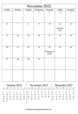 November 2022 Editable Calendar with Notes (Portrait Layout)