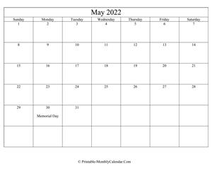 May 2022 Calendar Templates