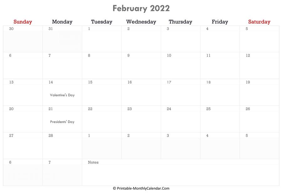 February 2022 Calendar Printable with Holidays