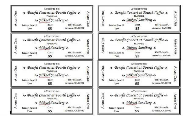 Awesome Free Printable Event Ticket Templates Pictures - Best
