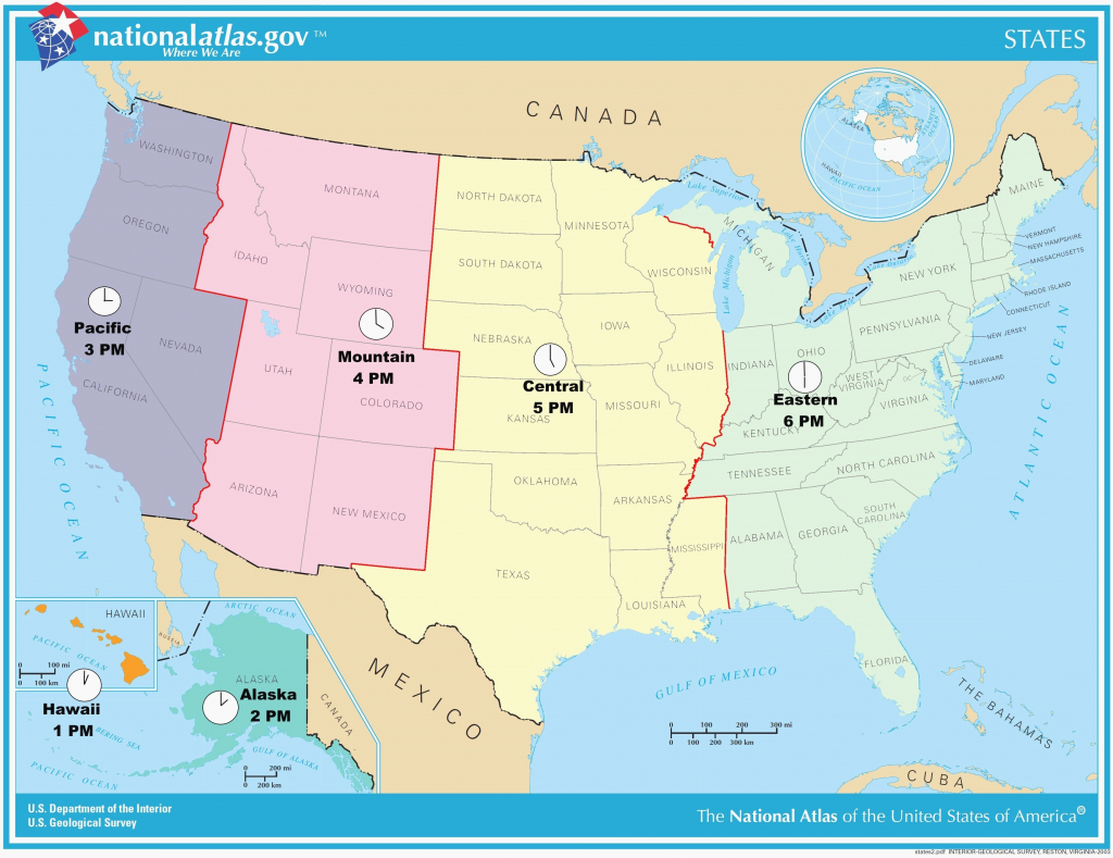 Printable Map Of Time Zones In The United States