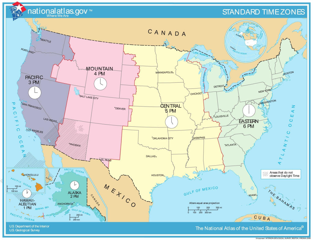 Printable Map Of Us Time Zones With State Names