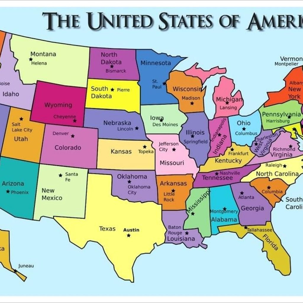 10 New Printable U S Map With States And Capitals