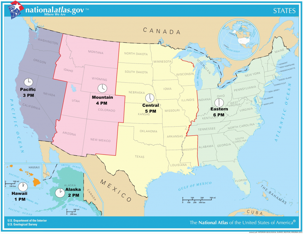 Printable Map Of Us Time Zones Usa Time Zone Map Lovely