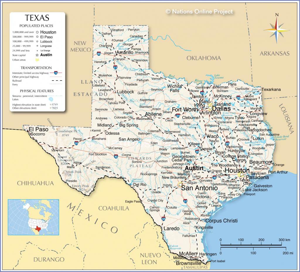 Printable Map Of Texas Usa