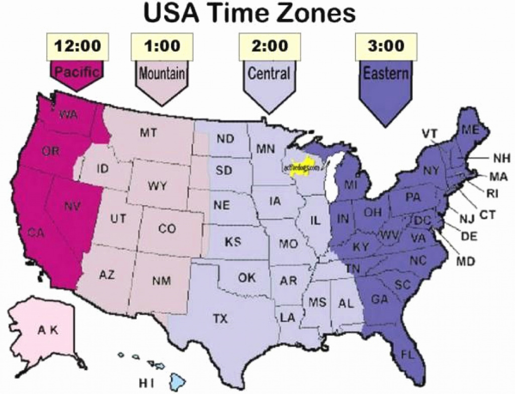 Printable Map Of Usa Time Zones