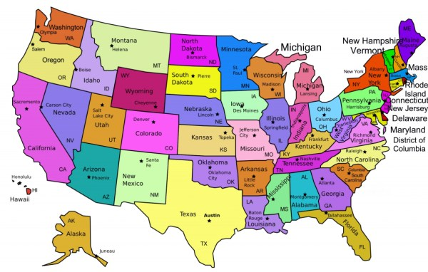 Printable Map Of Usa With State Names And Capitals
