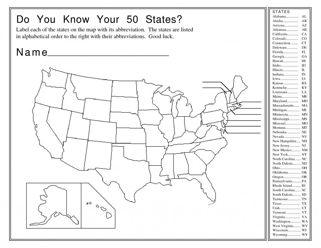 Printable Us Map Worksheet